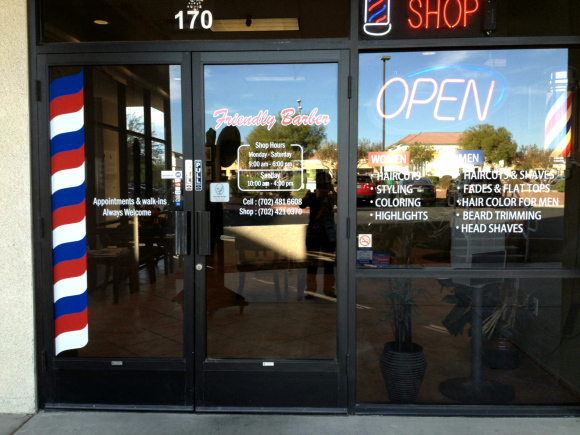 Entrace to Friendly Barber